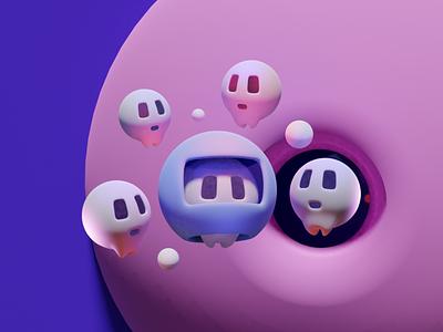 space skull icon web color branding design illustration clean skull art minimal render 3d blender