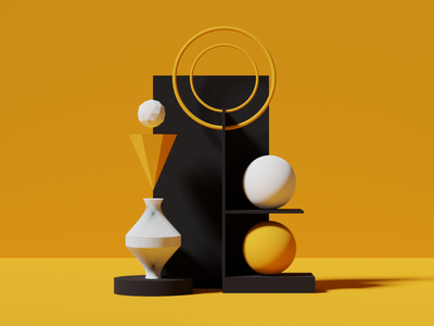 black and yellow shapes circle vector yellow blender 3d illustration clean color design minimal