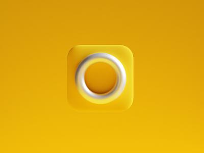 Over app icon minimal clean design branding app render blender clean yellow color design 3d over