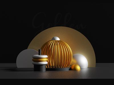 gold blender web design clean illustration branding typography minimal color dark metal 3d blender