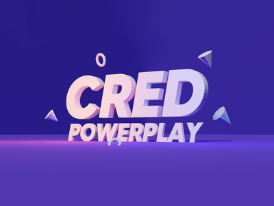 CRED powerplay typo illustration color ui design minimal powerplay cricket cred blender 3d