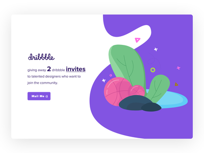 Invites illustration color vector minimal welcome mail illusration dribbble invite design ui