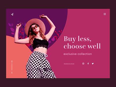 Web Fashion  UI clothing fashion brand girl typography clean web design branding color ui minimal