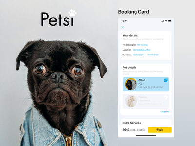 Pet app design details page booking system booking app pet pet care ui design ui web app design design