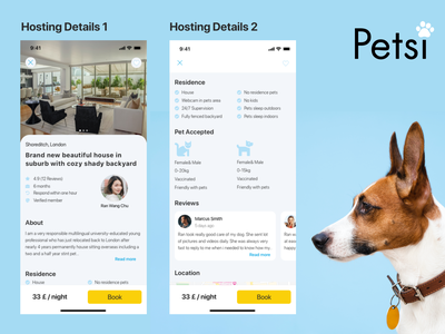 Pet app design book petsitting reviews details page booking app mobile app design app design ui ui design design app booking