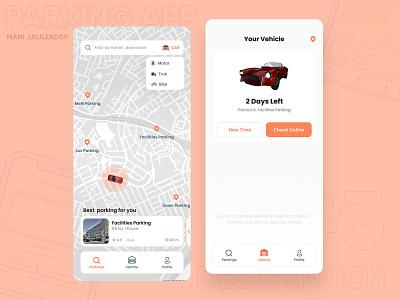 #3 Nearby Parking App (Challenge) iranian designers clean design minimalism parking founder parking motor car found parking orange mani jalilzadeh designwich parking app
