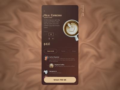 Coffee Take App milk espresso wichkids designwich coffee app coffee beans product order brown coffee shop coffee