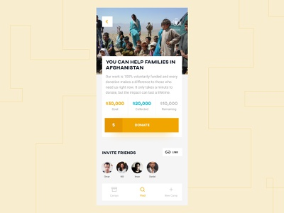 Campaign Donation volunteer mani jalilzadeh designwich charity wichkids money soft shadow event minimal simple minimalism afghanistan ui mobile sharp donate donation campaign