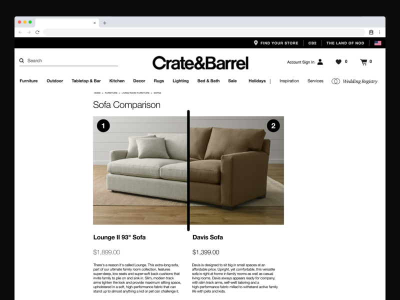 Couch Slider Feature for Crate and Barrel iu hcid