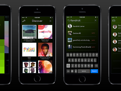 Spotify iOS Redesign  spotify ios ui music player interface song itunes green album settings chat