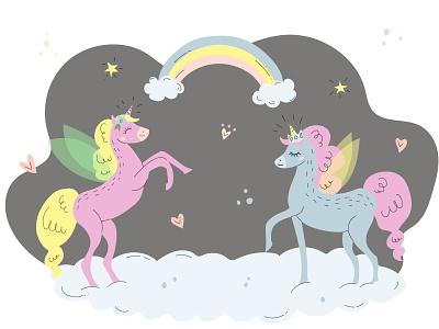 Unicorns animal magic unicorn pastel children book illustration rainbow horse flat illustration vector