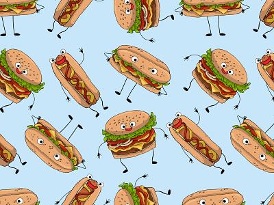 Children's seamless pattern with burgers fastfood hamburger food eat sandwich emoticon set character seamless pattern pattern children hotdog burgers vector illustration