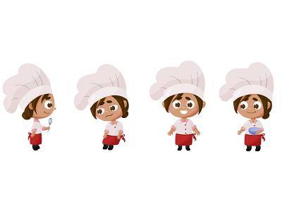 Little chef chibi cook chef character design concept concept list character children book illustration girl flat vector illustration