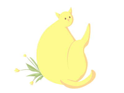 Hoba! Second yellow cat plant pastel yellow character cat animal flat vector illustration