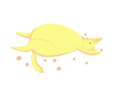 Sixth yellow cat yellow pastel plant character cat animal flat vector illustration