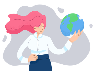 The world is in the hands female power pink planets world earth girl character flat vector illustration