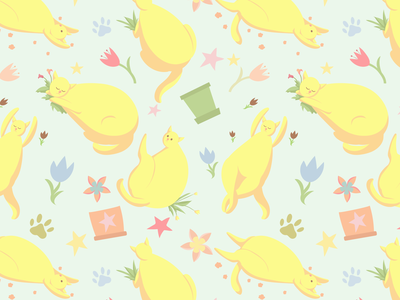 Cat-pattern pattern bodypositive yellow pastel cat plant animal character flat vector illustration