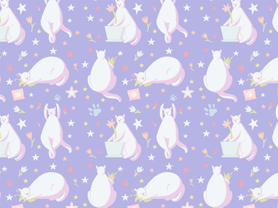 Cat-pattern 02 pattern bodypositive violet pastel cat plant animal character flat vector illustration