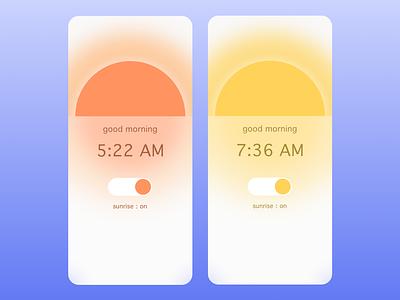 Sunrise Alarm On/Off : Daily UI 15 frostedglass sleek modern sunny mobiledesign uidesign uxdesign goodmorning morning sunrisealarm sunrise dailyui015 ux graphic design dailyuichallenge dailyui art ui design