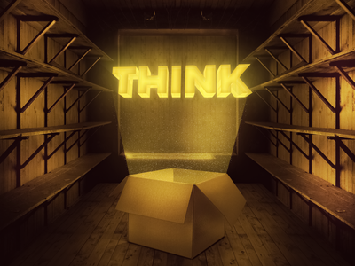 Think Outside the Box illustration design photo manipulation