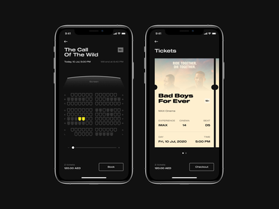 Cinema App ux  ui ios iphone brand design dark theme dark mode dark ui movie tickets cinema app