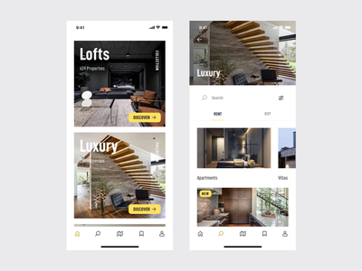 estate. Home & Collections real estate property iphonex app mobile ui ux