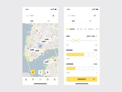 estate. Search & Filters property iphonex app mobile ui ux