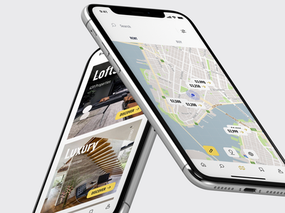 estate. Home & Maps property iphonex app mobile ui ux