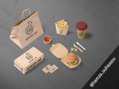 "Burger store logo design ""BURGER LAB"" art illustration vector minimal logo illustrator graphic design flat design branding"