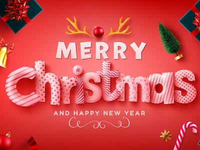 Merry Christmas & Happy New Year web font font design christmas vector design illustration