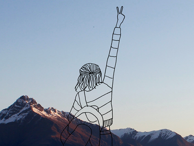 I miss New Zealand. adventure woman fashion illustration drawing line drawing new zealand outdoor mountains photography illustration