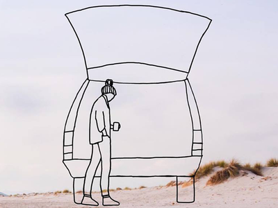 #Vanlife Begins adventure pastel graphic design photography beach nature outdoors minimal drawing woman illustration