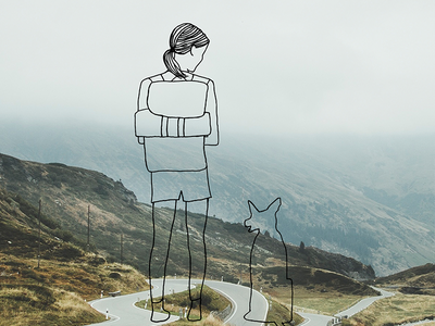 #atwildwoman Katie Boue graphic design mountains photography nature dog woman outdoors adventure fashion illustration drawing