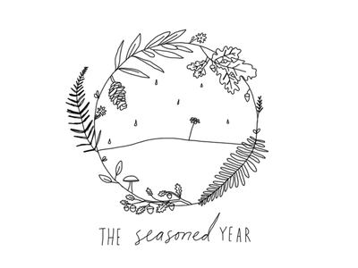 Logo for The Seasoned Year black and white delicate outdoor nature minimal simple lettering handwriting hand drawn
