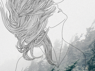 At Wild Woman in the Forest hair adventure outdoor woman fashion handdrawn minimal illustration drawing