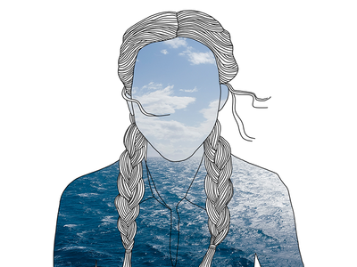 The World In You feminine hair ocean nature outdoor digital illustration line drawing fashion illustration photography illustration