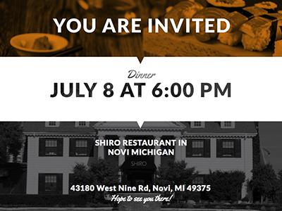 Dinner Invite Email email dinner restaurant type modern minimal invite invitation internet