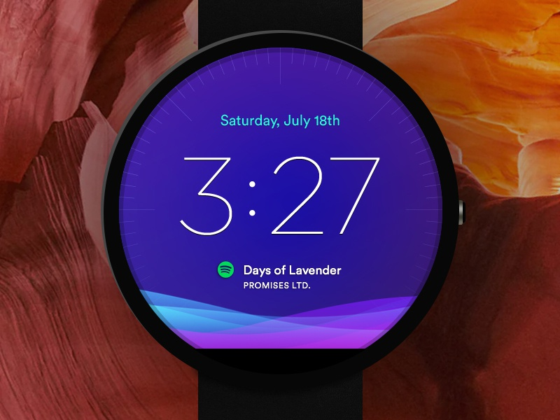 Moto 360 Wearable UI clock time wear android wear apple watch moto 360 moto watch ui wearable gradient purple