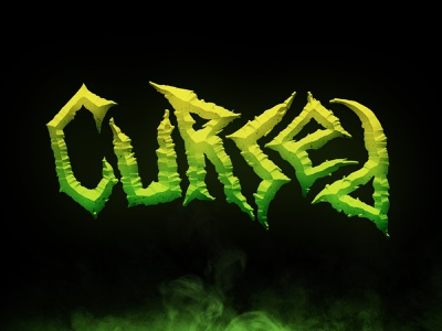 """""""Cursed"""" Horror-Themed Hand Lettering goblin scary evil metal typography type halloween sharp gradient green horror lettering hand lettering"""