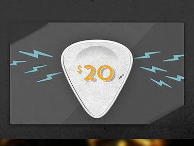 Gift Card gift card guitar pick lightning bolt