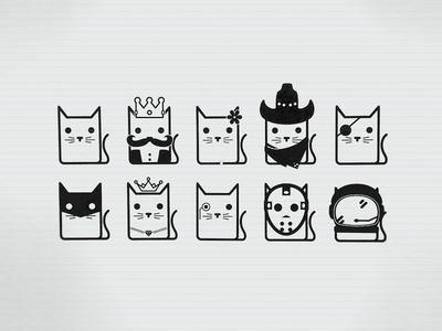 Some Cats doodle brand cat king queen cowboy patch batman hockey jason astronaut