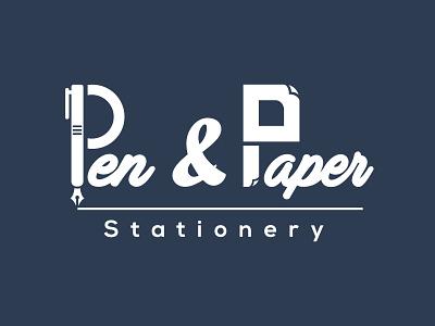 Pen And Paper Stationery | Logo Design craft paper pen stationery vector icon typography branding logo web flat illustration design