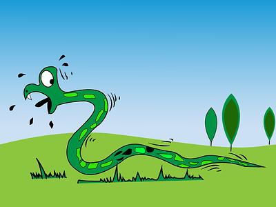 Snake illustrator flatdesign flatcolors running run snake
