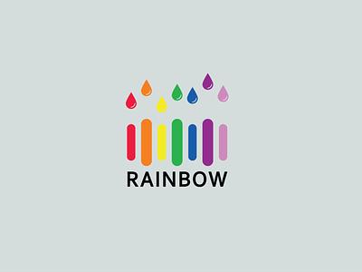 Rainbow typography idea logodesign vector creative minimal logo illustration branding design