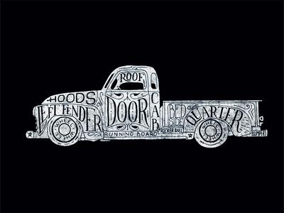 Lettering truck print.
