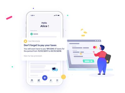 Tax reminder ui illustration bank identity logo animation app mobile