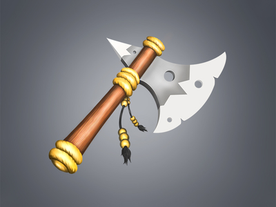 Fantasy axe art gold photoshop 2d illustration digital painting sketch drawing icon battle-ax fantasy axe