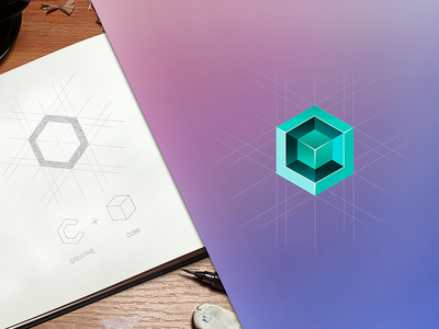 Creative cube c design project behance sketch 3d green cube creative identity brand logo