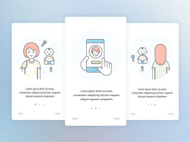 App Walkthrough interface ui soft colours blue icons walk through android ios illustrations mobile app design walkthrough