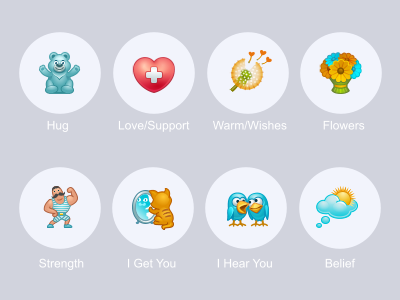 Virtual Gifts for TalkLife talklife gift hug bear heart love support warm wish flowers strength kitten mirror birds conversation dream belief icon iconka